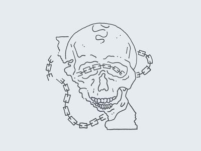 California, Skull & Chain [WIP] poster linework line minimal clean chain california skull illustration