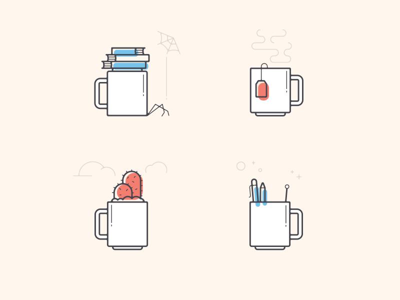 four ways to use a mug tea spider pen cactus plant coffee cute lines clean mug brand illustration