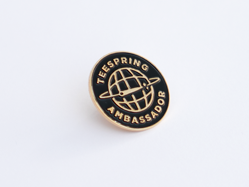 Teespring Enamel Pin clothing shirt tee globe illustration logo pin enamel