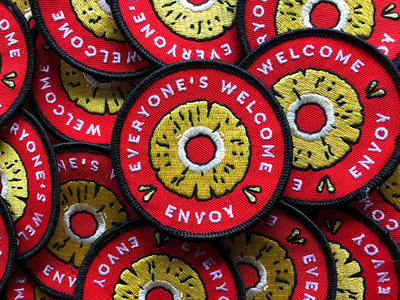 Everyone's Welcome Patch illustration typography clean merch visual design branding embroidery pineapple welcome envoy patch