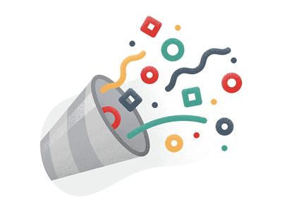 🎉 success celebration party shading stipple design brand icon illustration emoji