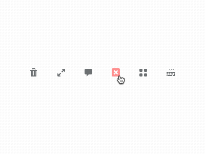 Quicons.   free freebie icon 16px psd glyph trashcan arrows speech bubble close thumbnails keyboard wip