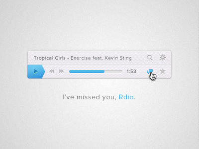 I've missed you, Rdio. free photoshop download rdio music player freebie psd ui blue layer styles interface