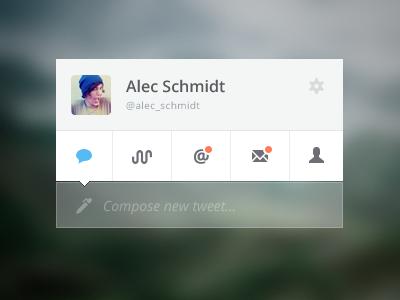 Twidget twitter widget ui clean flat minimal interface icons design