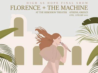 Florence + the Machine Memorabilia music poster design concert memorabilia memorabilia design graphic design poster design digital illustration illustration art illustrator illustration