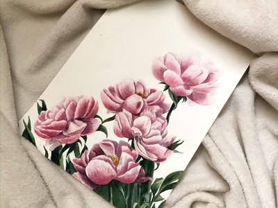 Peony's watercolor inspiration aquarell watercolor art postcard design postcard illustration flowers illustration design botanical illustration art botanical art aquarelle