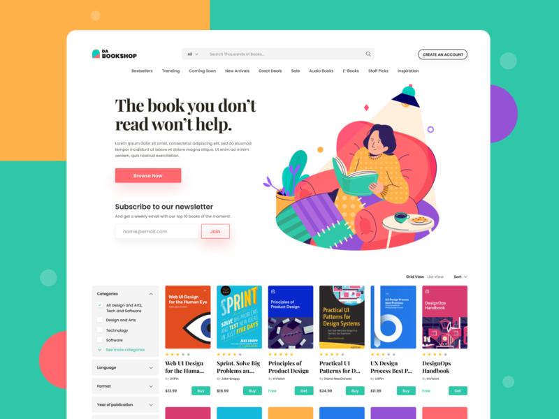 Web UI - Books Website app type web ui-ux ux ui product light mode design color