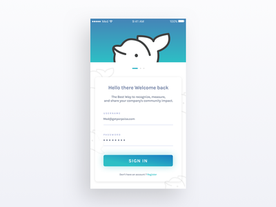 Login page - Porpoise app iOS interface graphic character flat mobile ux app design ui