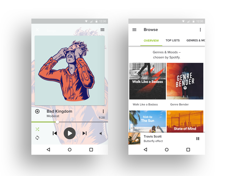 Bright Spotify UI for Android graphic design grid material flat ux ui typography android