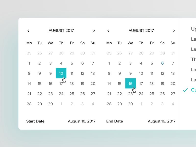 Calendar widget UI for web sketch color flat graphic web interface design ios ux ui