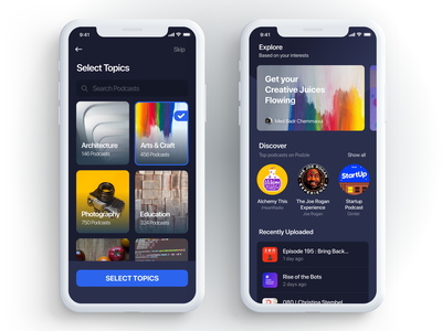 Onboarding page + Home page (Podcast app) colors podcast ux app ios mobile interface design ui