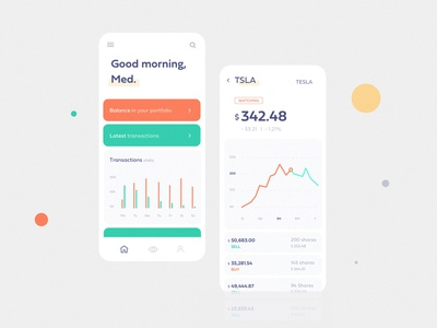 Stocks wallet app product wallet ux ui stats statistic money mobile minimal ios interface design coin clean colors application app