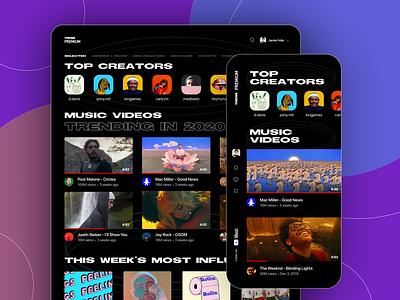 Music Video Streaming Platform - Web & iOS product type streaming music app colors clean ui clean web application ux ui-ux ui mobile web dark mode design
