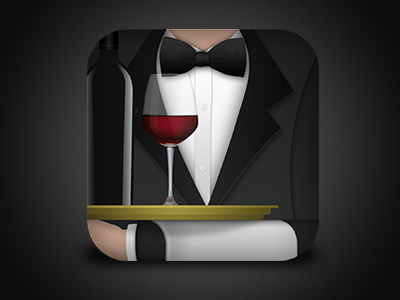 iOS wine app icon icon wine app ios bottle glass bow tie suit dark easyvino tray bar sommelier