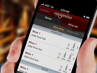 Easyvino wine list