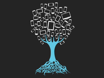Rooted In Knowledge part III tree blue tv phones tablets iptv mobile illustration design t-shirt tee