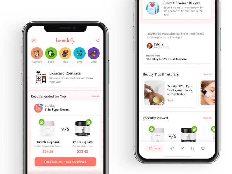 Brandefy Home | Light Mode redesign concept mobile apps app design make up mobile design mobile app mobile app design ui visual design ui design beauty app makeup mobile ui