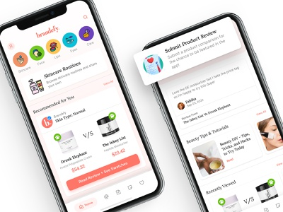 Brandefy Home | Product Reviews redesign concept redesign brandefy beauty app beauty makeup mobile navigation feed landing page home page design visual design ui design ui mobile app design mobile design mobile ui mobile app mobile