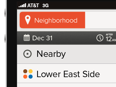 Mobile App: Neighborhood Selection ui mobile orange list selection