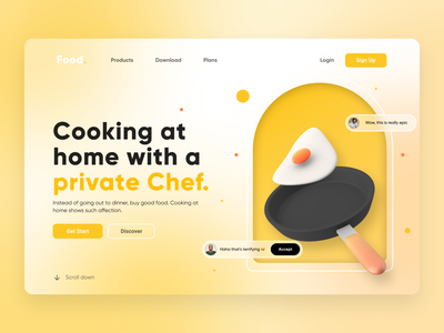 Cooking with Egg 3d web design ux ui