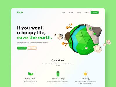 Save Earth - 3D concept web 3d design ux ui