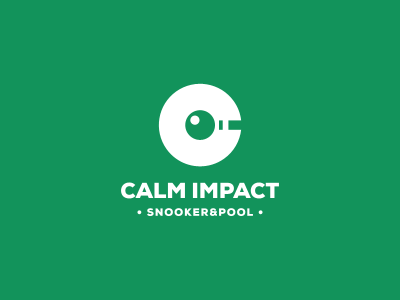 Calm Impact  logo symbol mark negative space pool snooker ball pool stick green calm impact calm impact hit