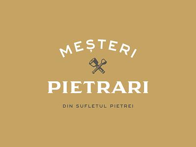Mesteri Pietrari chisel art stone stonemason logo design logo