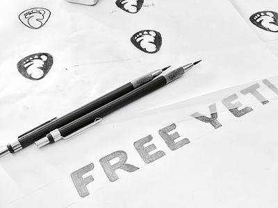 Free Yeti Sketch freedom shield bigfoot free yeti yeti winter logotype sketch logo sketch logo design logo