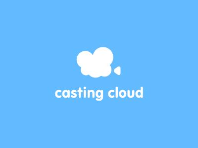 Casting Cloud logo symbol mark could casting cast film actor play movie camera video blue cinema casting cloud
