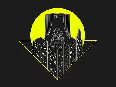 tehran art city tower vector design illustrator illustration