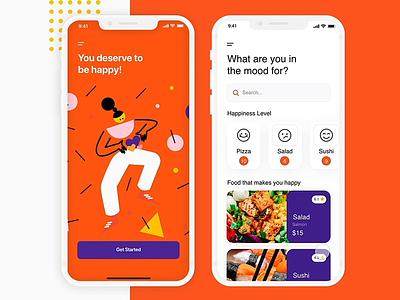 HAPPY FOOD UI ui uxui ux app trends illustration branding adobe xd appdesign app animations app branding graphic design