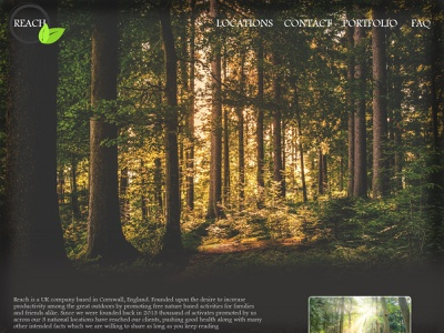 'REACH' nature site created in HTML webdesign website logo simple practise reach develop design graphic html