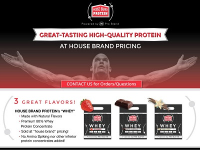 House Brand Whey Protein web page brand design logo design product design packaging design web design