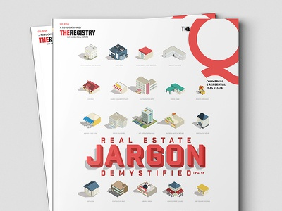 The Q - Q3 - Cover 3d jargon real estate layout icons typography cover magazine