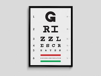 Eye exam chart  poster typography chart eye exam snellen