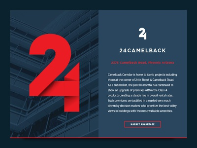 24 Camelback property marketing office phoenix shadow ribbon blue red branding logo 24