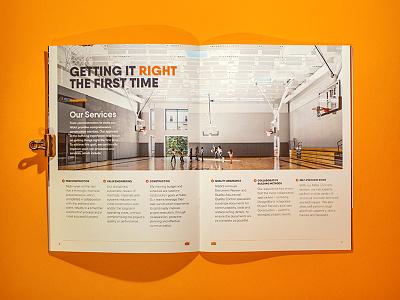 Nibbi Brothers brochure - test photo construction spread orange design layout editorial photo brochure