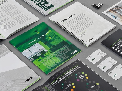 The BOX cbre real estate commercial collateral marketing design clean typography layout brochure print
