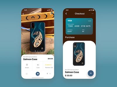 Product & Checkout Screens - Mobile UI ios app designer indigenous uiux ecommerce design ecommerce app product checkout product design app design ui  ux ui design app ux mobile design mobile app design