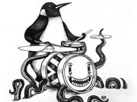 Penguin drummer