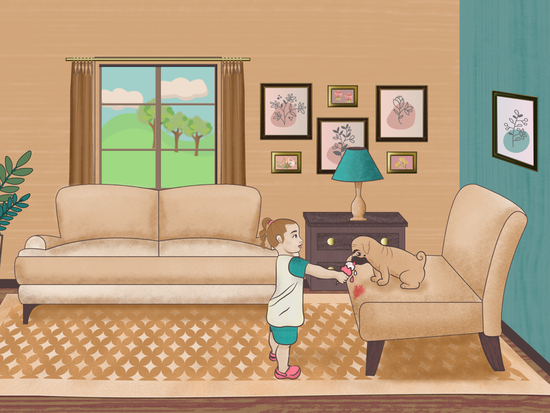 Sofi & Memo sofa livingroom affinity designer affinity photo pug design girl character toddler dog illustration