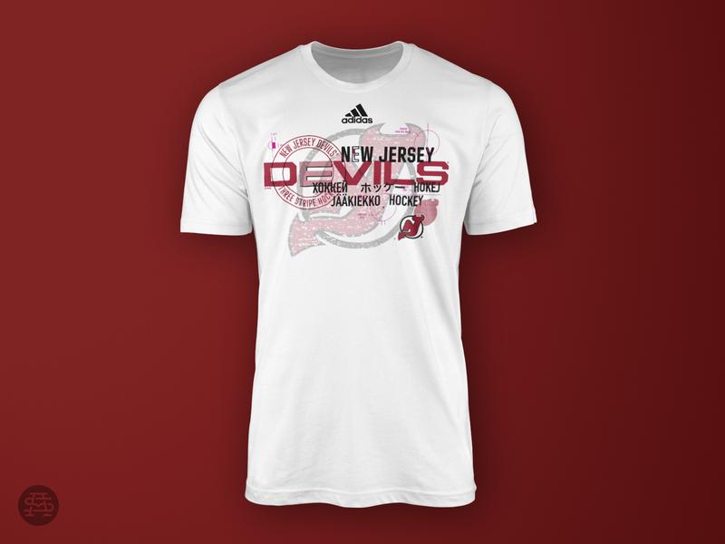 Push Through black typography t-shirt design apparel nhl type hockey sports logo