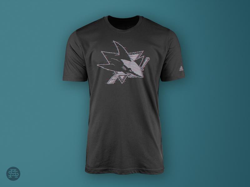 Interference sharks black t-shirt apparel nhl hockey sports logo