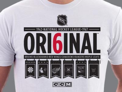 Banner Six nhl ccm hockey vintage t-shirt logos new york