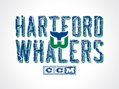 Shattered Ice texture type logo vintage ccm apparel sports whalers hartford hockey nhl
