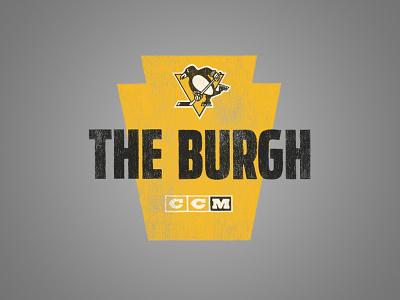 The Burgh hand drawn distressed vintage texture ccm hockey sports logo pittsburgh penguins keystone
