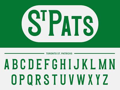 St. Pats Font maple leafs uniform green sports vintage type toronto hockey nhl