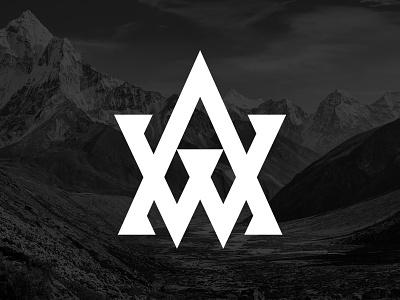 AW Monogram branding timberwolves minnesota athlete sport basketball mountains w a monogram type