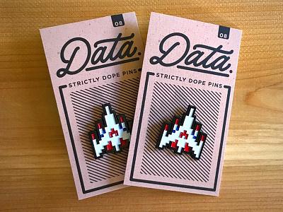 Challenging Stage Pin arcade galaga la crew data packaging card logo pixel pin
