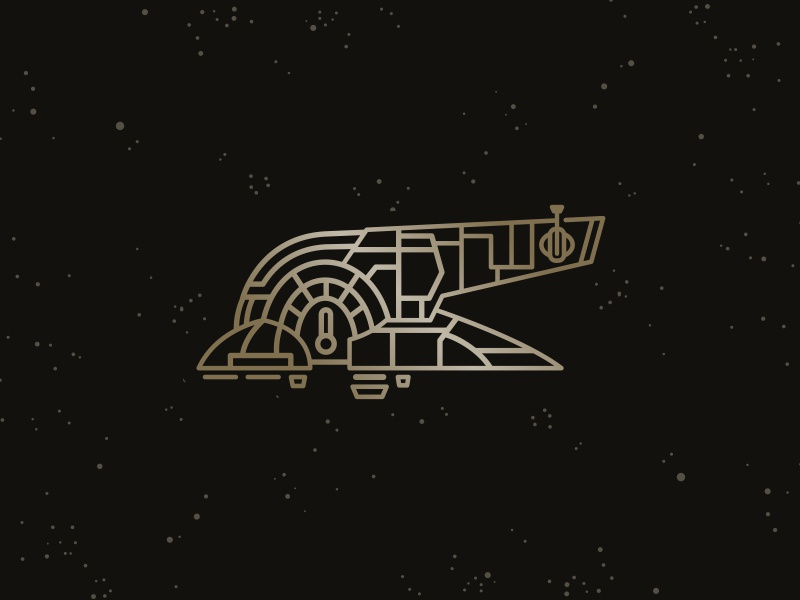 Slave 1 Pin Art  star wars pin hunter bounty movie spaceship ship line space